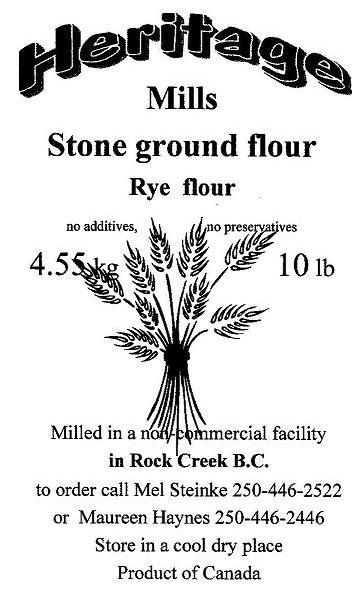 Heritage Mills wheat label